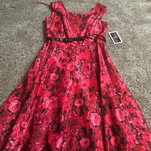 Women's red/black Tea length dress size 6